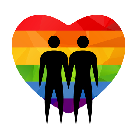 Gay couple silhouette with heart on a white background.
