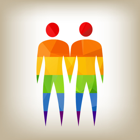 relationships human: Gay couple rainbow polygonal silhouette on a white background. Illustration