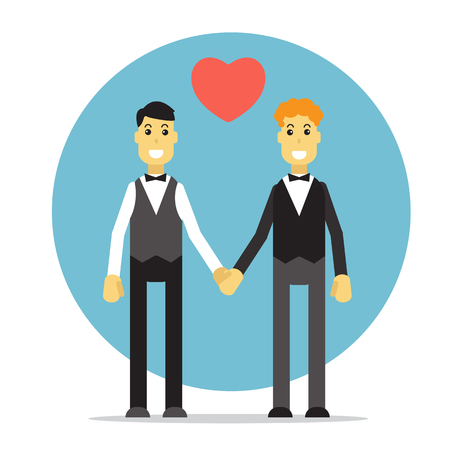 gay wedding: Gay couple silhouette on a blue background. Gay wedding. Flat design. Illustration