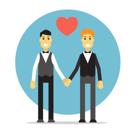 boda gay: Pareja gay silueta sobre un fondo azul. boda gay. Diseño plano.