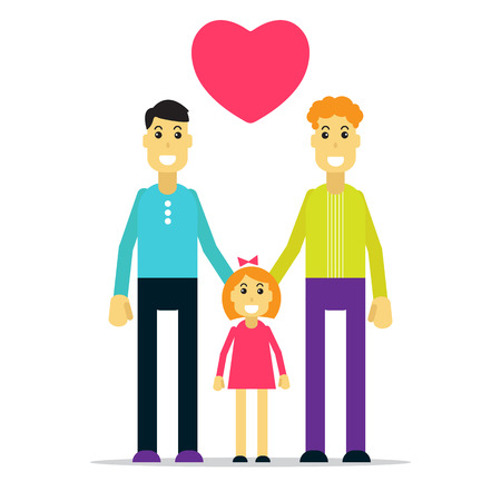 relationships human: Happy gay family with kid. Flat design.