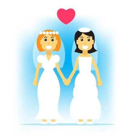 boda gay: Mujer feliz pareja de homosexuales. boda gay. Diseño plano.