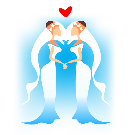 Woman gay couple with heart on a blue background. Gay wedding.