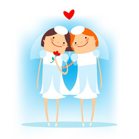 boda gay: Mujer pareja gay en un fondo azul. boda gay. Vectores