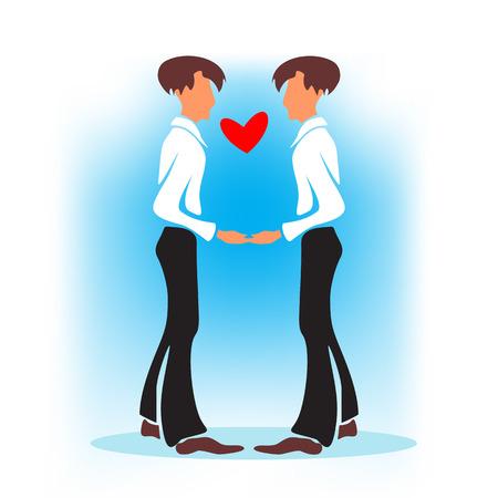 boda gay: Dos homosexuales felices con el corazón en un fondo azul. boda gay.