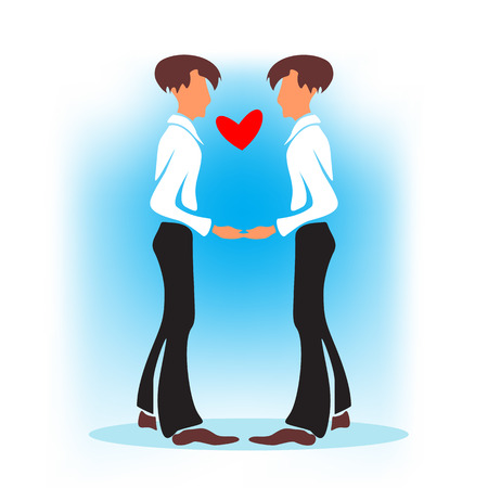 gay wedding: Two happy gays with heart on a blue background. Gay wedding.