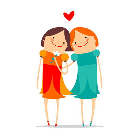 gay wedding: Two happy girls with heart on a white background. Gay wedding. Illustration