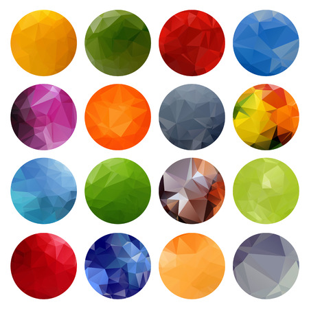 Multicolored polygonal bright circles set isolated on a white background.