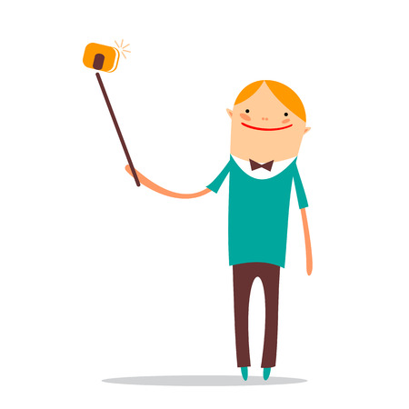 Stylized taking selfie happy man isolated on a white background.