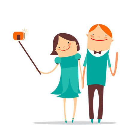 Stylized romantic couple taking selfie on a white background.