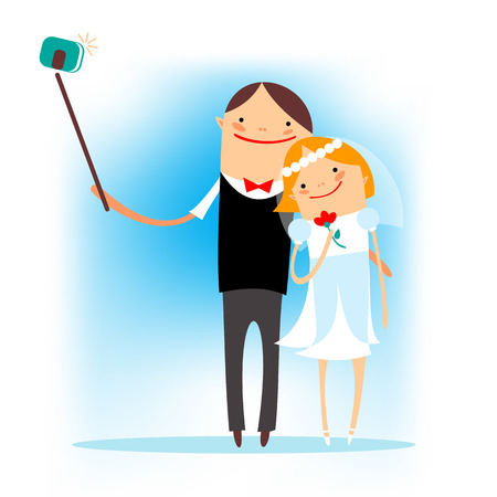 Stylized happy married couple taking selfie on a blue background. Illustration