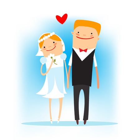 newly wedded couple: Stylized happy married couple on a blue background. Flat design.