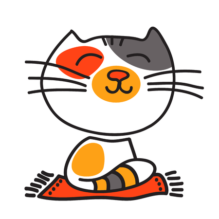 grey rug: Stylized three-colored happy nice cat isolated on a white background.