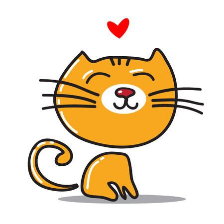 diversion: Gato agradable feliz estilizado con el corazón aislado en un fondo blanco.