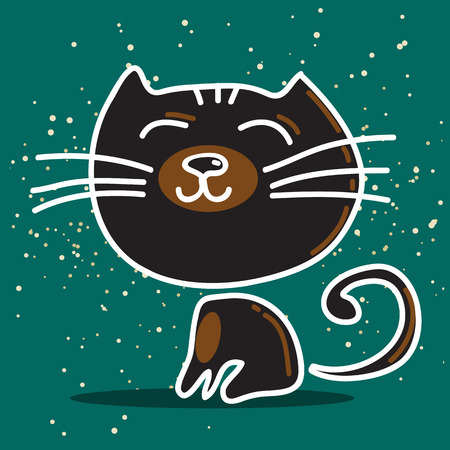 cute animal: Stylized happy black nice cat on a blue-green background.