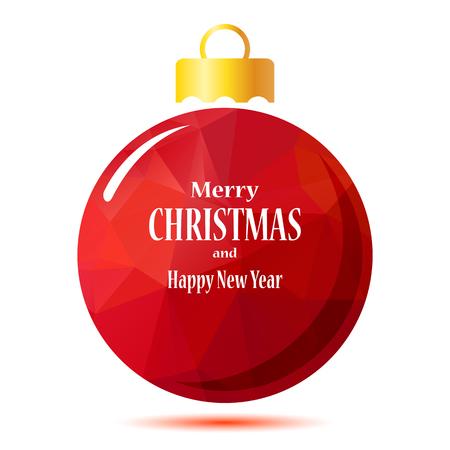 Red boule de Noël polygonale isolé sur un fond blanc. Vecteurs