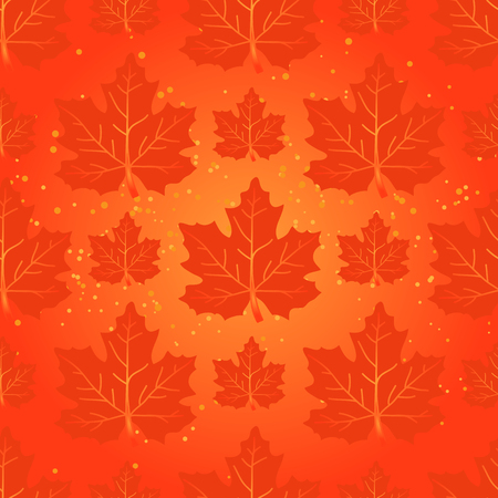 red leaves: Maple leaves silhouettes on a red background. Seamless pattern.