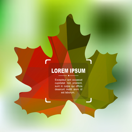 Polygonal autumn colorful maple leaf on a green background.