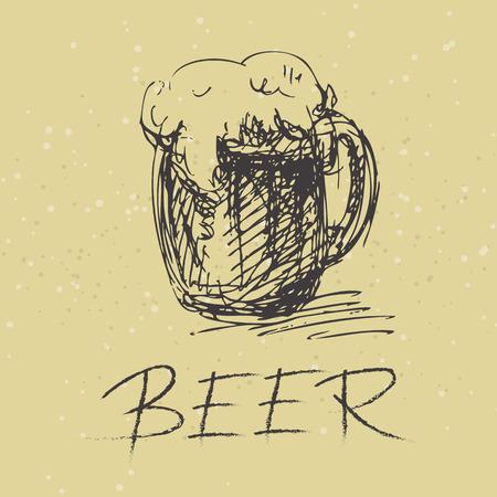 lager beer: Stylized beer mug on a beige background.
