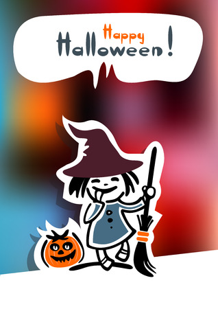 hag: Cartoon young witch and pumpkin on a bright background.