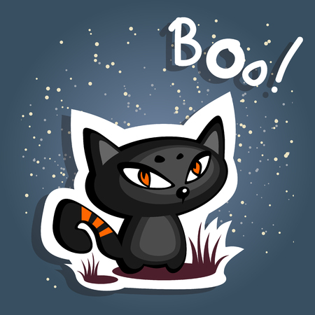 Cartoon black angry cat on a dark blue background.