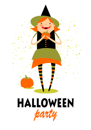 hag: Stylized pretty witch with pumpkin. Halloween greeting card, poster, flyer, banner, invitation.