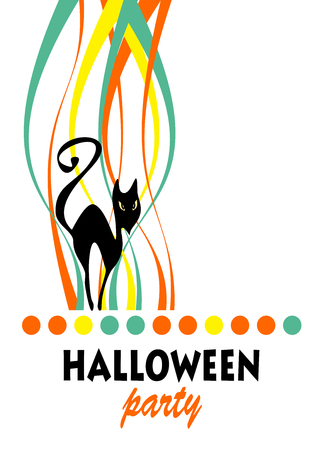 Black cat with striped pattern. Halloween greeting card, poster, flyer, banner, invitation.