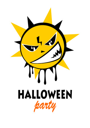 frighten: Angry sun on a white background. Halloween greeting card, poster, flyer, banner, invitation. Illustration