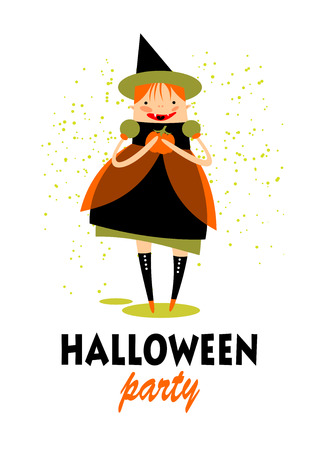 greeting stylized: Stylized young witch with pumpkin. Halloween greeting card, poster, flyer, banner, invitation.