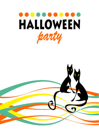 ominous: Two black cat with striped pattern. Halloween greeting card, poster, flyer, banner, invitation.