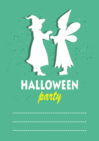conjure: Two children silhouettes. Halloween greeting card, poster, flyer, banner, invitation. Illustration