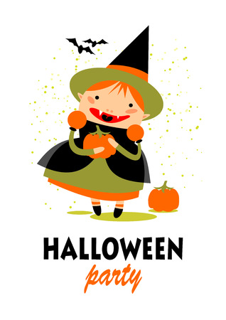hag: Young witch with pumpkin. Halloween greeting card, poster, flyer, banner, invitation.