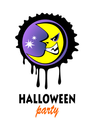 Angry moon on a white background. Halloween greeting card, poster, flyer, banner, invitation.