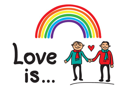 gay men: Boys couple with rainbow isolated on a white background.