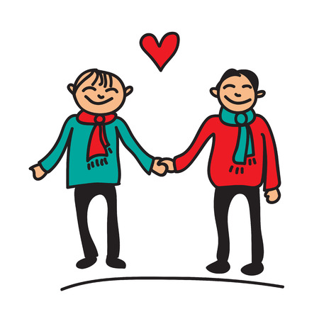 gay men: Boys couple with red heart on a white background. Illustration