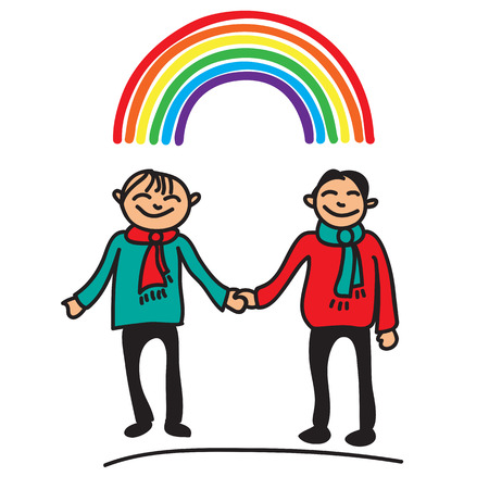 gay men: Boys couple and rainbow isolated on a white background. Illustration