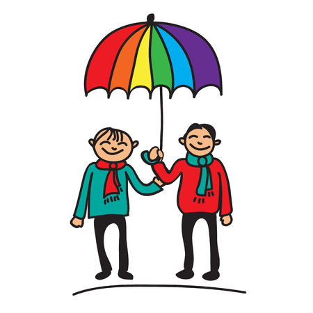 homosexual couple: Boys couple with umbrella on a white background. Illustration