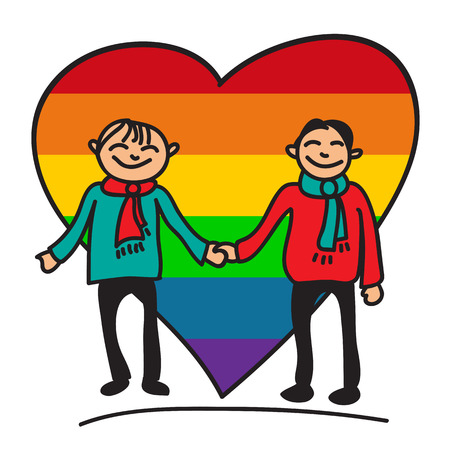 nontraditional: Boys couple with big rainbow heart on a white background.