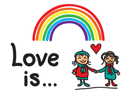 nontraditional: Girls couple with rainbow on a white background.