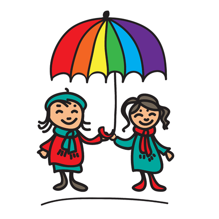 Girls couple with umbrella on a white background.