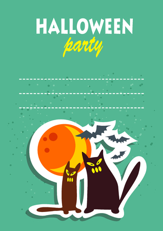 Two cats and moon. Halloween greeting card, poster, flyer, banner, invitation.