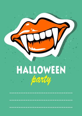 Vampire teeth. Halloween greeting card, poster, flyer, banner, invitation.