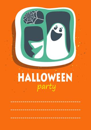phantom: Phantom with window. Halloween greeting card, poster, flyer, banner, invitation.