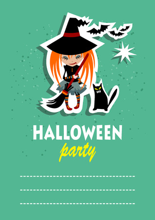 superstitious: Witch and cat. Halloween greeting card, poster, flyer, banner, invitation. Illustration