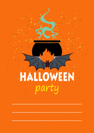 Cartoon angry pumpkin.  Halloween greeting card, poster, flyer, banner, invitation.