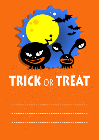 ominous: Two black monsters. Halloween greeting card, poster, flyer, banner, invitation. Illustration