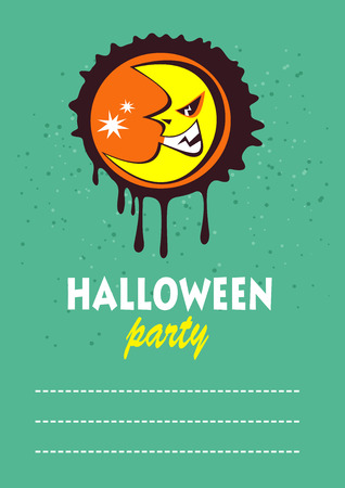 Cartoon angry moon.  Halloween greeting card, poster, flyer, banner, invitation.
