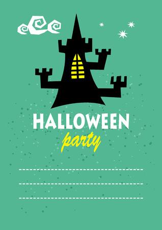 frighten: Black castle. Halloween greeting card, poster, flyer, banner, invitation.
