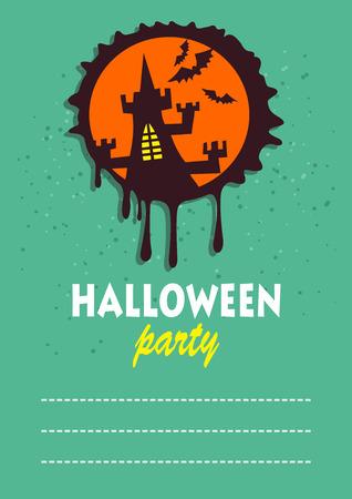 grunge banner: Black grunge castle. Halloween greeting card, poster, flyer, banner, invitation. Illustration