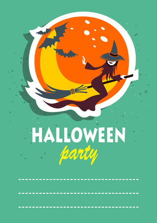 Flying witch. Halloween greeting card, poster, flyer, banner, invitation. Illustration